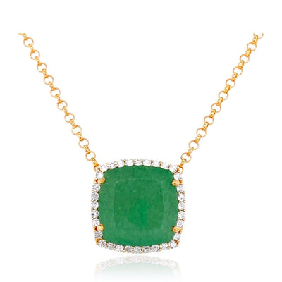 DEUX Necklace (1145) - Green Quartz /  YG
