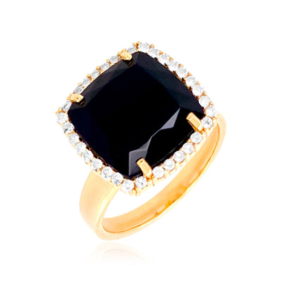 DEUX Ring (1145) - Black Quartz / YG
