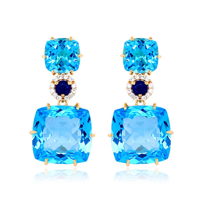 DEUX Earrings (1145) - Blue Topaz, Navy Blue Quartz / YG
