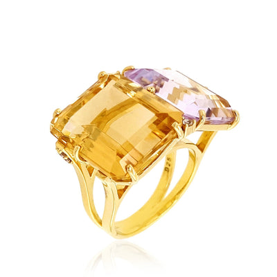 COLUNA Ring - Pink Amethyst, Light Citrine  / YG