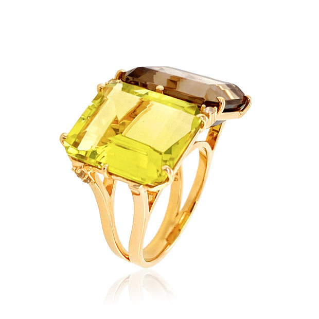 COLUNA Ring - Lemon Citrine, Smoky Quartz  / YG