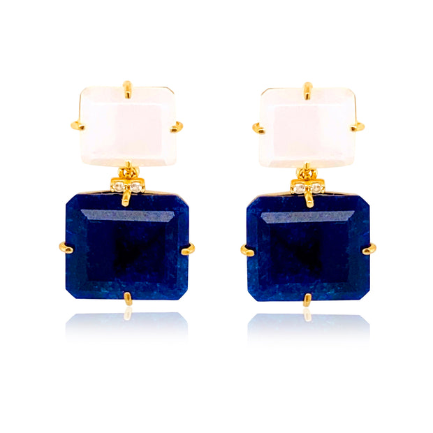 COLUNA Earrings - Opal Quartz, Navy Blue Quartz / YG