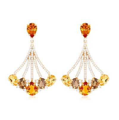 VILLA RICA Earrings - Citrine, Smoky Quartz / YG