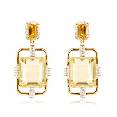 ECLECTIC Earrings - Off-White Citrine, Citrine  / YG