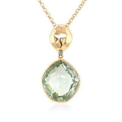 PANORAMA Necklace - Prasiolite / Yellow Gold