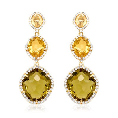 PANORAMA Earrings - Olive Quartz, Champagne Citrine / YG