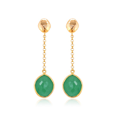PANORAMA Earrings - Green Quartz / YG