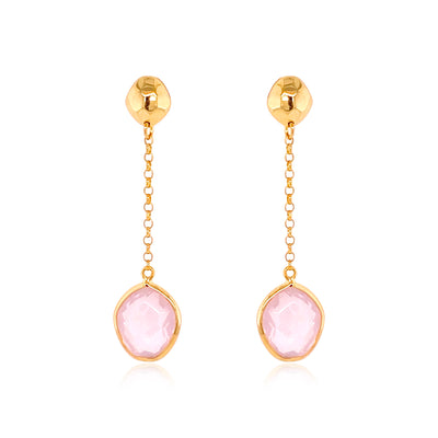 PANORAMA Earrings - Rose Quartz / YG