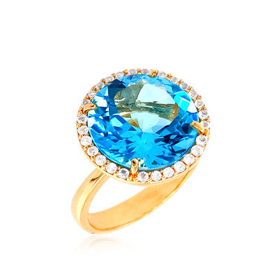 SIGNATURE Ring - Blue Topaz / YG