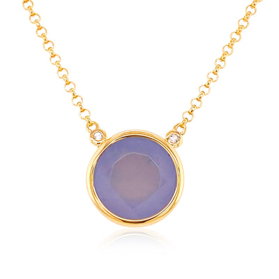 SIGNATURE Necklace - Blue Chalcedony / YG