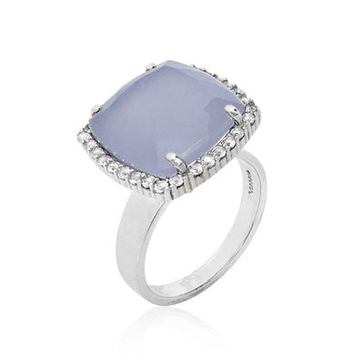 DEUX Ring (1145) - Blue Chalcedony /  SS