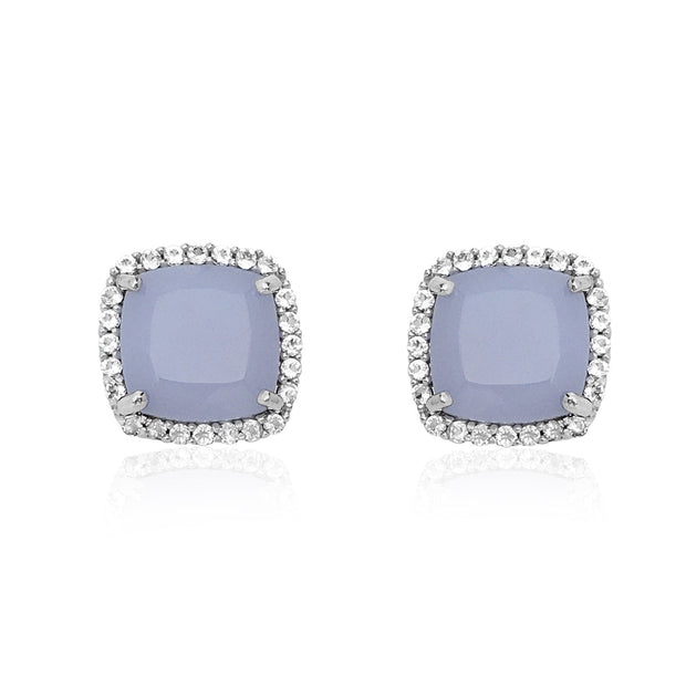 DEUX Earrings - Blue Chalcedony / SS
