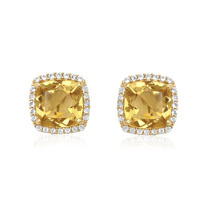 DEUX Earrings (1145) - Light Citrine / YG