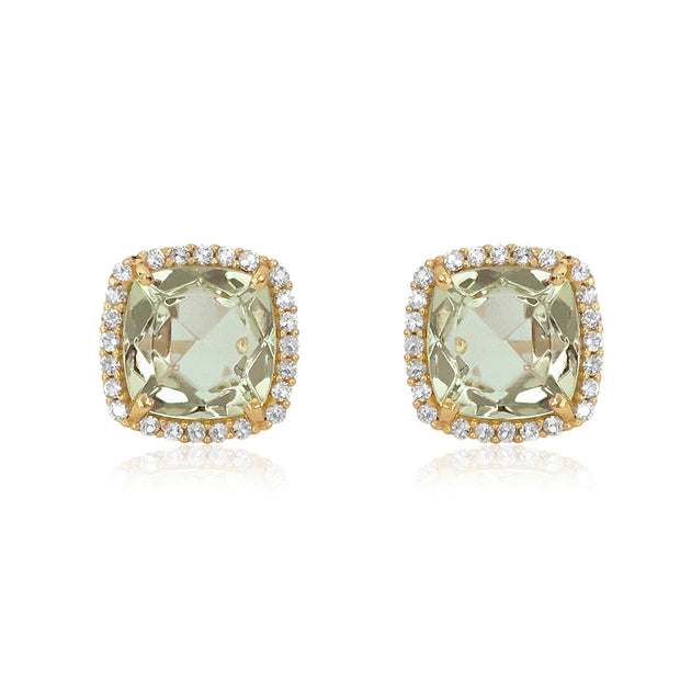 DEUX Earrings (1145) - Prasiolite /  YG