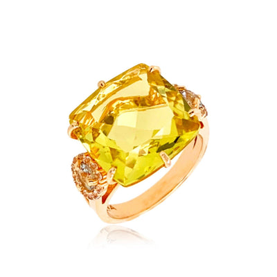 DEUX Ring (1145) - Lemon Citrine, Prasiolite / YG