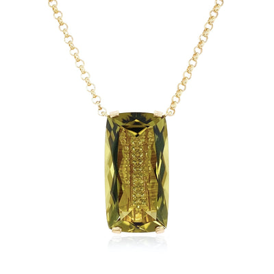 TRANSPARENZA Necklace - Olive Quartz / YG