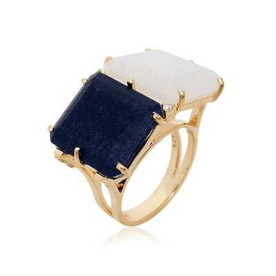 COLUNA Ring - Opal Quartz, Navy Blue Quartz  / YG