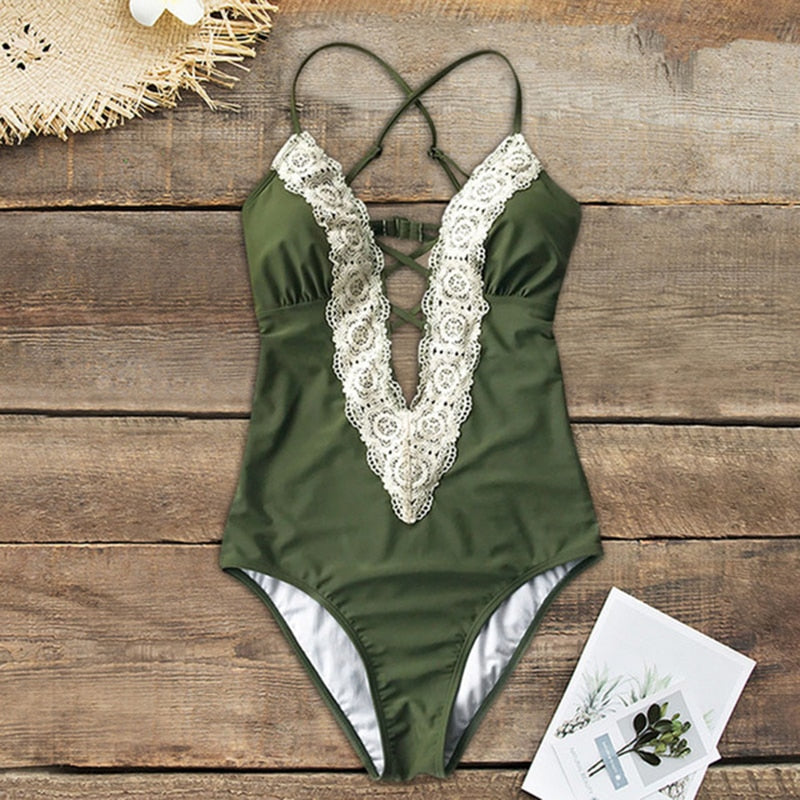 Swimsuit lace v-neck bathing sexy monokini cross pleated swimsuit push up bra summer beach girl suit - SolBikini