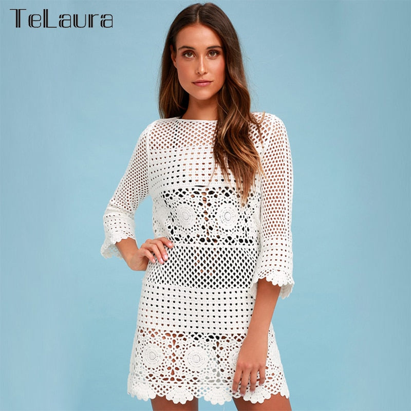 New For 2020 Sexy Summer Beach Cover-Up White Crochet Tunic Dress Beachwear - SolBikini