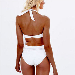 New for 2020 summer beach girl white sexy one piece swimsuit sports backless swimsuit push up bandage monokini high waist - SolBikini