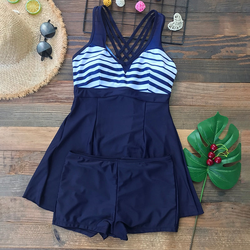 2020 new tankini plus size blue two piece swimwear swimsuit striped print patchwork skirt swimming suit 5xl - SolBikini