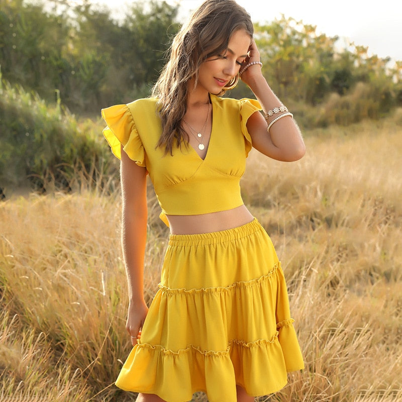 2020 new summer sweet 2 piece set v neck ruffles sleeveless solid top midi skirt and top set - SolBikini