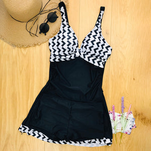 2020 plus size swimwear skirt tankini swimsuit two pieces retro black big size swimming suit for woman S-5XL - SolBikini