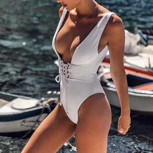 2020 sexy deep v-neck ribbed high waist one piece swimsuit bandage lady backless monokini bathing bathing bathing suit - SolBikini
