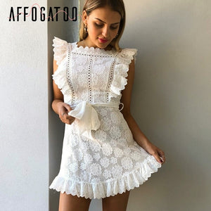 Elegant pleated pinafore white vintage high waist summer embroidery cotton casual short blue dress - SolBikini