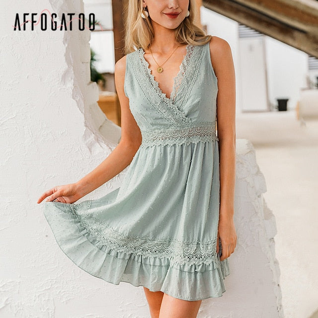 Sexy v-neck elegant pleated cotton summer casual sleeveless lace embroidery short dress - SolBikini