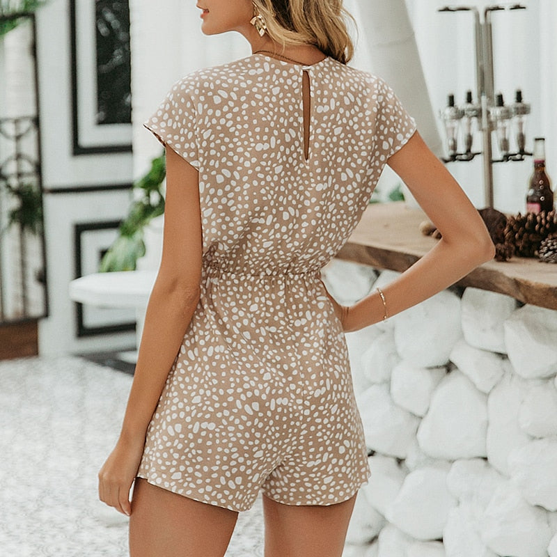 Sexy Elegant Bow Sleeveless Wide Leg Short Casual Jumpsuits Loose Lace Short Leopard Play-suits - SolBikini