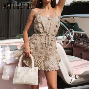 Sexy elegant lace up summer short vintage spaghetti strap white casual embroidery beach dress - SolBikini