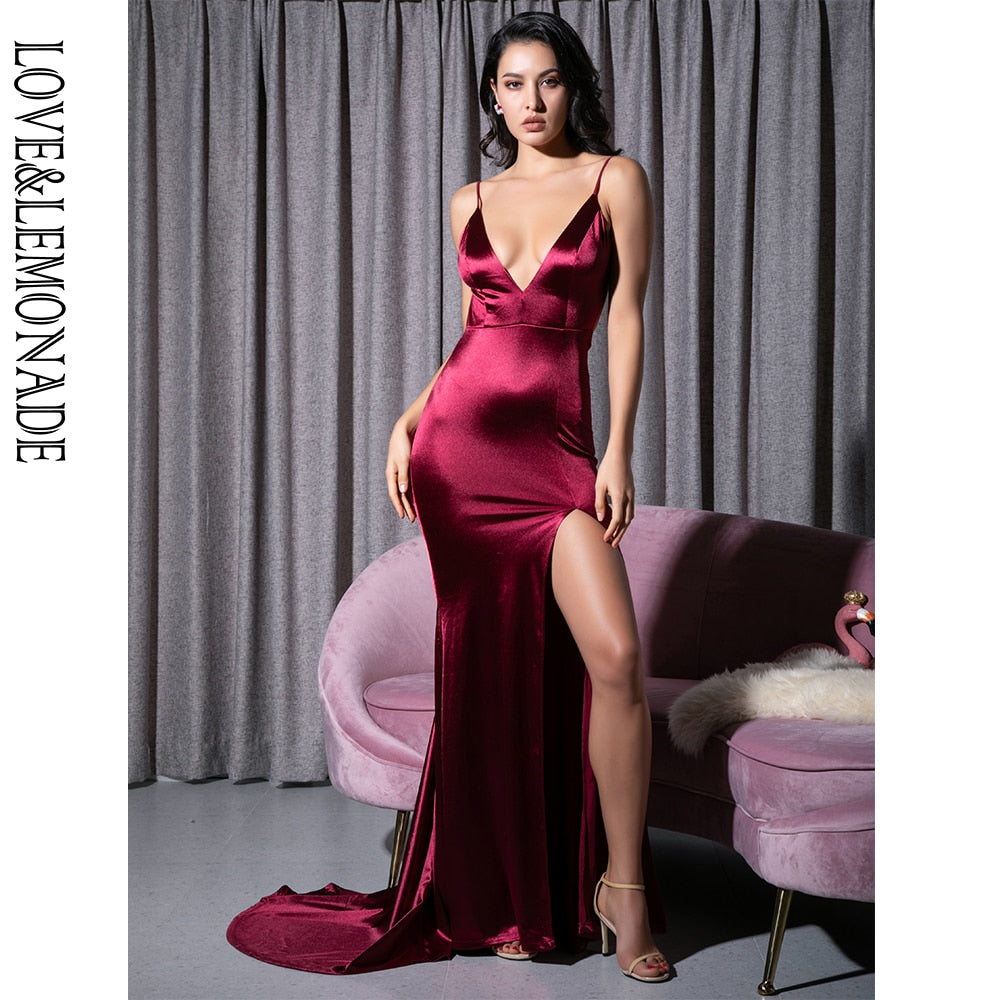 Wine Burgundy Open Back Long Cut Maxi Dress New 2020! - SolBikini