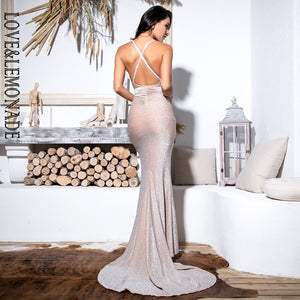 New Sexy Bodycon Nude Open Back Shiny Maxi Dress - SolBikini