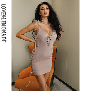 Sexy New 2020! Nude Color Deep V-Neck Lace-Up Open Back Summer Beach Bodycon Party Casual Mini Dress - SolBikini