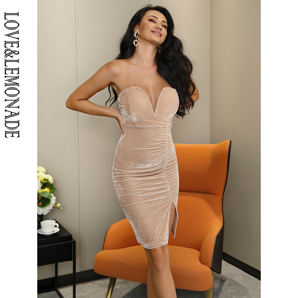 Sexy New 2020! Nude Velvet Material Bodycon Nightlife Cocktail Party Mini Dress - SolBikini