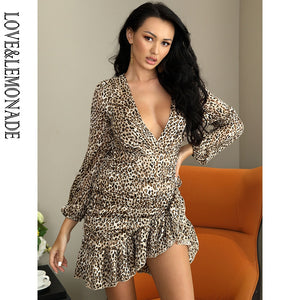 Sexy Deep V-Neck Cross Ruffled Bodycon Leopard Chiffon Material Long Sleeve Mini Dress New 2021