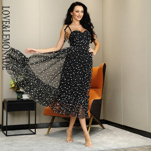 Sexy Lace Top Rope Black Polka Dot Mesh A-line Fluffy Mid-Length Dress New 2020! - SolBikini