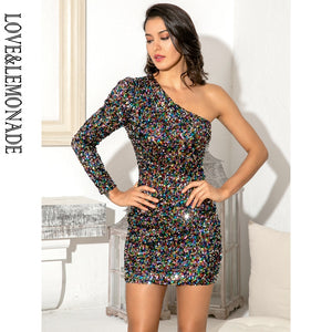 Sexy New 2020! One Shoulder Bodycon Black Colored Sequins Cocktail Party Mini Long Sleeve Dress - SolBikini