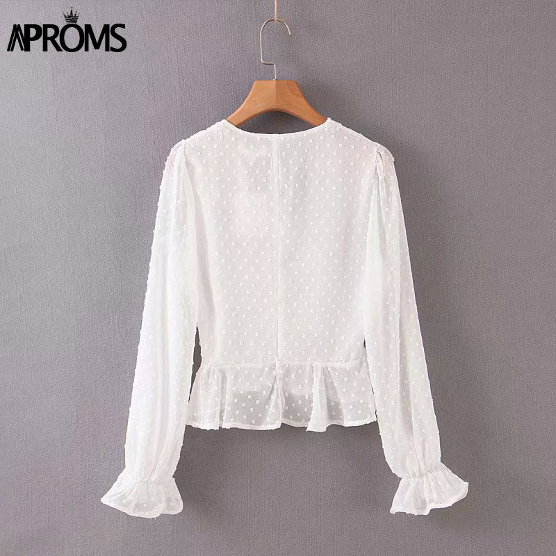 Elegant v-neck pleated cropped blouse white polka dots buttons chiffon boho lantern sleeve tops 2020 - SolBikini
