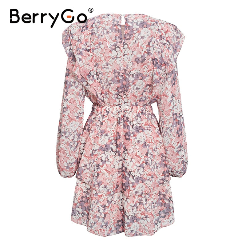 Floral print elegant puff sleeve a line chiffon dress high waist work sash pink dress 2020 - SolBikini