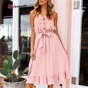 Solid Pink Embroidery Summer Beach Girl Casual Sleeveless Bow Midi Dress - SolBikini