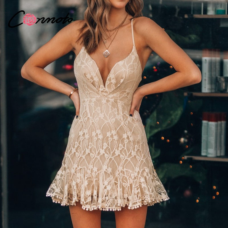 Solid sexy pink lace mini casual summer club backless ruffled dress - SolBikini