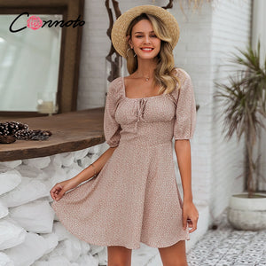Summer beach chiffon casual vintage square collar dress ruffles boho ruched robe dress - SolBikini