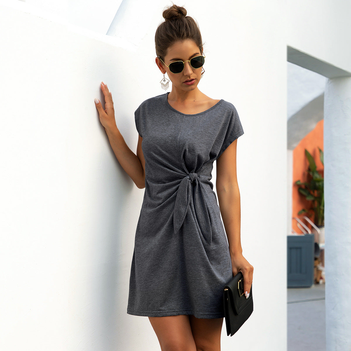 Simple casual sexy spring summer fashion solid short sleeve party dress - SolBikini