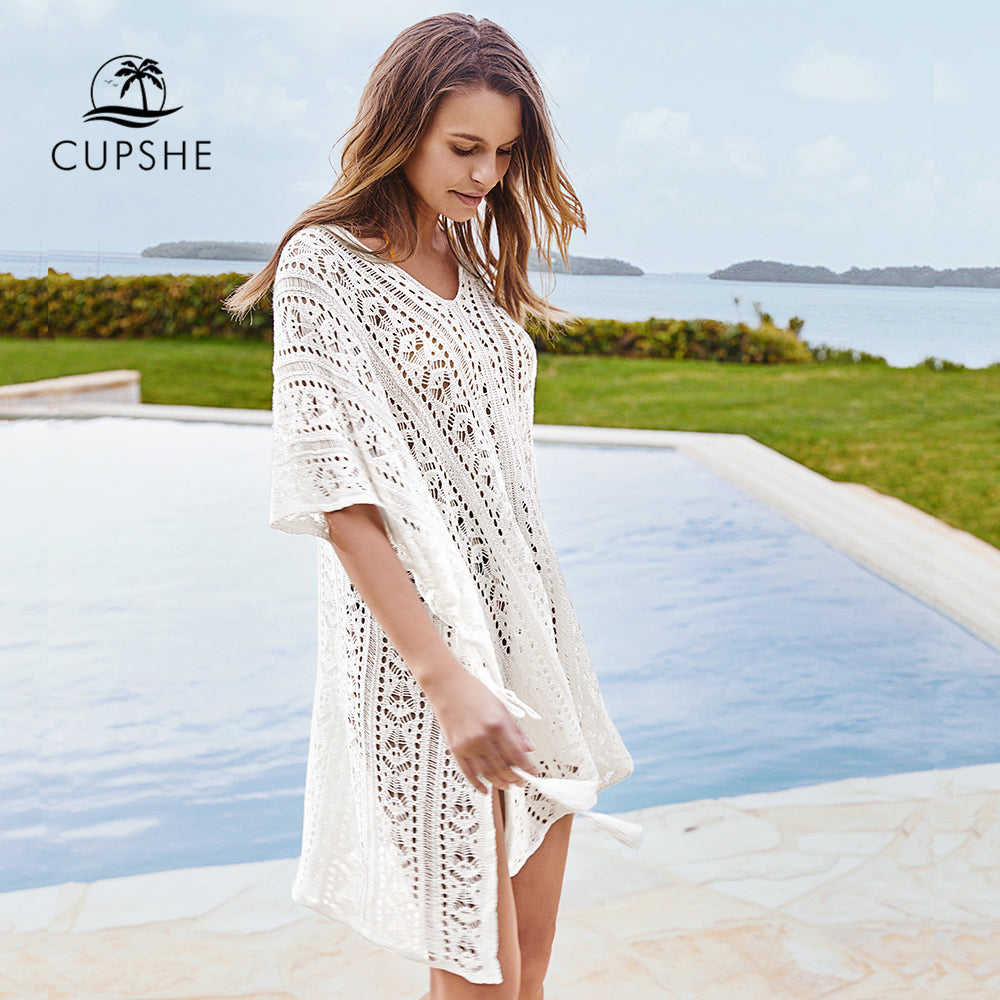 New For 2020 White Hollow-Out Summer Beach Girl Bikini Cover-Up Sexy Loose Casual Tunic Dress - SolBikini