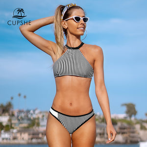 Black and white stripe tank top bikini sets sexy low waist swimsuit two piece bathing suit new for 2020 beach girl bathing suits - SolBikini
