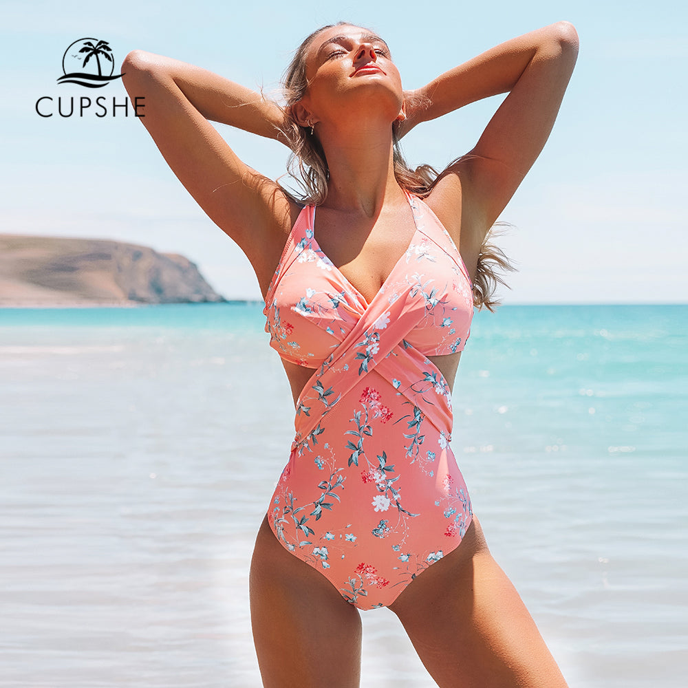 Pink floral one piece swimsuit sexy open back knot padded monokini new for 2020 beach swimsuit - SolBikini