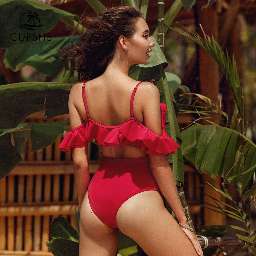 Solid red off the shoulder ruffles one piece swimsuit sexy padded cups monokini new for 2020 summer beach girl swimsuit - SolBikini