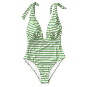 Stripe print deep v-neck one-piece swimsuit sexy backless bow-knot monokini new for 2020 beach swimsuit - SolBikini